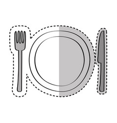 dish with knife and fork kitchen cutlery isolated vector image vector image