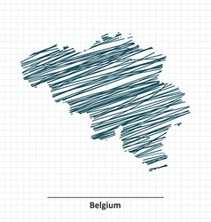 Doodle sketch of Belgium map vector image vector image