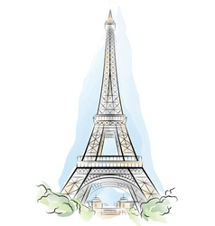 eiffel tower france vector image vector image