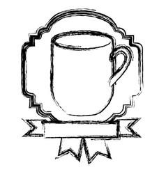 Emblem coffee cup with ribbon icon vector