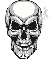 Evil skull with cigarette vector image vector image