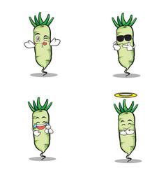Face white radish character cartoon vector