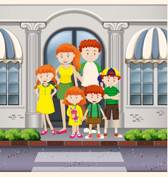 Family members standing on pavement vector
