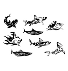 Fierce shark tattoo icons vector image vector image