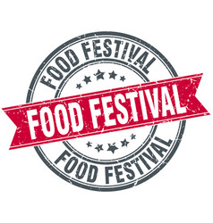 food festival round grunge ribbon stamp vector image