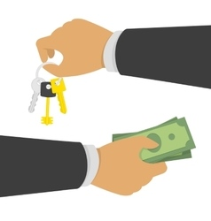 Hand with money and keys vector