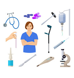 healthcare set with nurse and medical equpment vector image