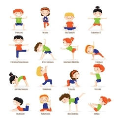 Kids Children Yoga Poses Cartoon Set vector image
