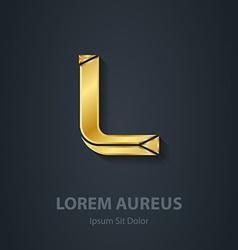 Letter L elegant gold font Template for company vector image