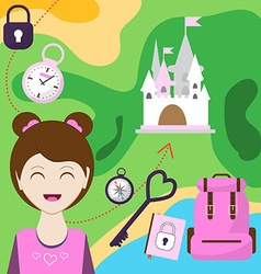 Map with a girl backpack and other items of vector
