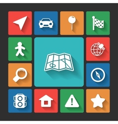 Navigation icons set squared shadows vector image