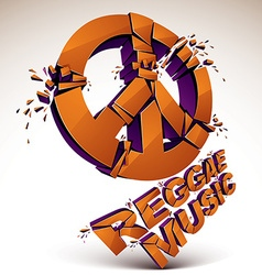 Orange 3d peace sign created from refractions vector