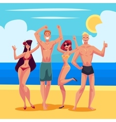 People dancing on the beach in swimming suits and vector
