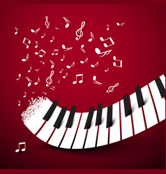 Piano keys keyboard with notes music symbol on vector