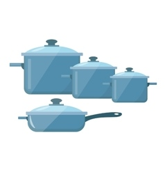 Set of dishes pots and pans icon flat vector image