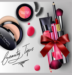 Sets of cosmetics background with red ribbon vector