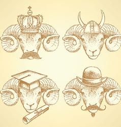 Sketch unusual rams set vector image vector image