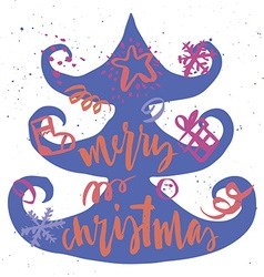 Spruce Christmas card Handmade Hand lettering vector image vector image
