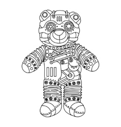 Steampunk style bear coloring book vector