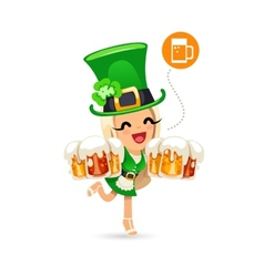 Waitress on the Patricks Day Party vector image