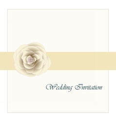 Wedding card invitation with pink rose ribbon vector image vector image