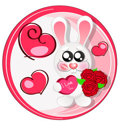 Wedding card with cute cartoon rabbits in love vector