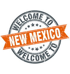 Welcome to new mexico orange round ribbon stamp vector
