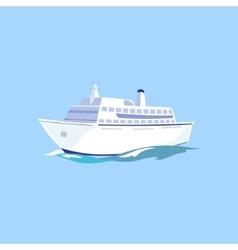 White passenger ship on the water vector