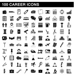 100 career icons set simple style vector image