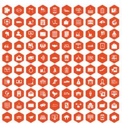 100 postal service icons hexagon orange vector