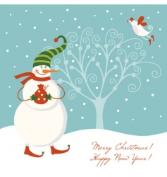 Snowman with present vector
