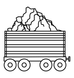 Coal trolley icon outline style vector