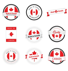 Set of made in canada labels badges and stickers vector