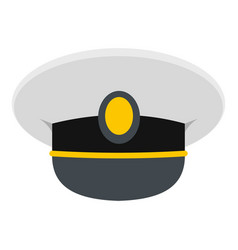 White nautical hat icon isolated vector