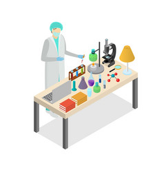 Scientist person on laboratory concept experiment vector