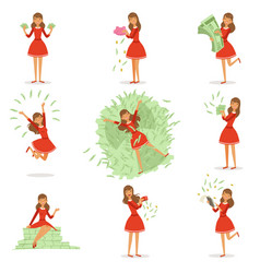 happy young rich woman in a red dress enjoying her vector image