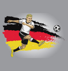 germany soccer player with flag as a background vector image