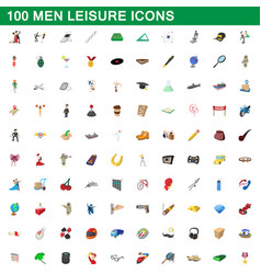 100 men leisure icons set cartoon style vector