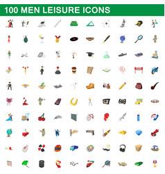 100 men leisure icons set cartoon style vector image