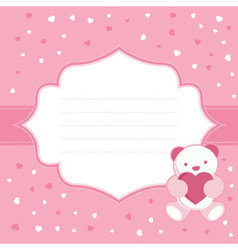 Pink greeting card with teddy bear vector