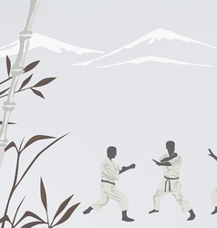 Three men are engaged in karate vector