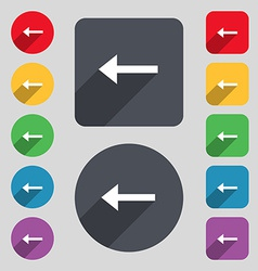 Arrow left way out icon sign a set of 12 colored vector