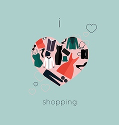 I love shopping icon vector