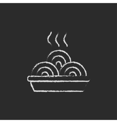 Plate of a hot mealicon drawn in chalk vector