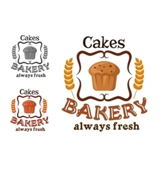 Bakery shop sign with cupcake and wheat vector
