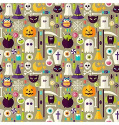 Flat beige halloween trick or treat objects vector