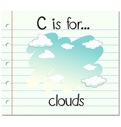 Flashcard letter c is for clouds vector
