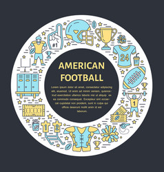 American football banner with line icon of ball vector