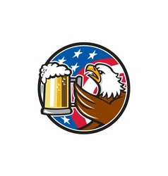 Bald eagle hoisting beer stein usa flag circle vector