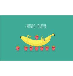 Banana strawbarry vector